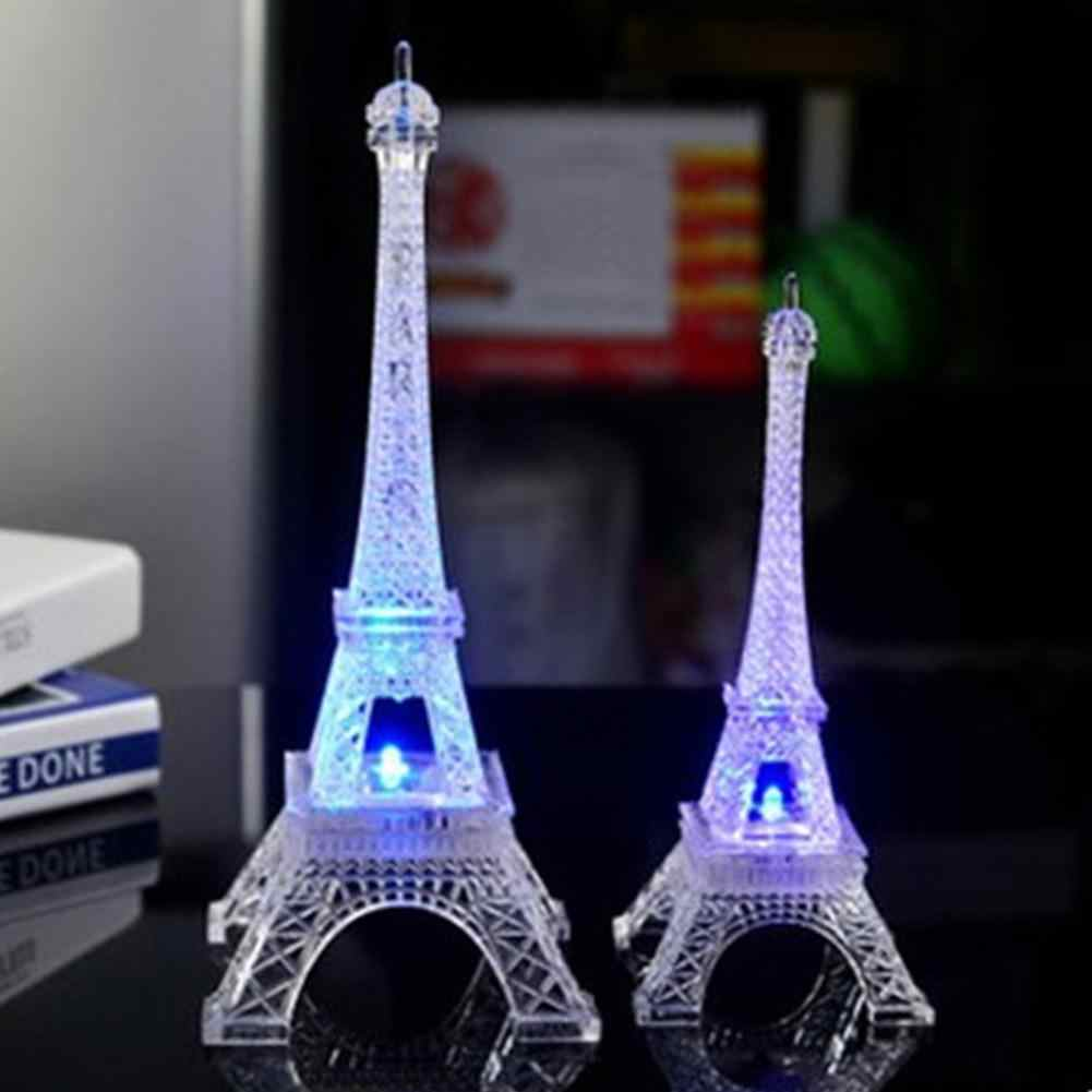 Colorful Romantic Eiffel Tower with LED Night Light Desk Wedding Bedroom Decorative Ornaments Lamp Child Gift