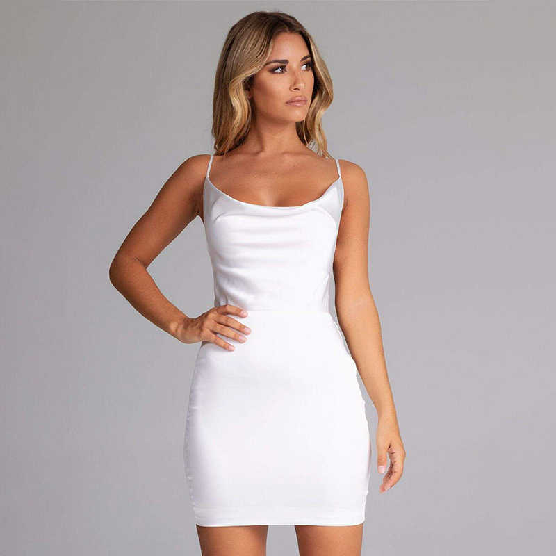 8f6fc8d5e0d7 ... NATTEMAID Backless Strapless Satin Bodycon Dresses Women Mini Clubwear  Zip Bandage Dress Summer Club Sexy White ...