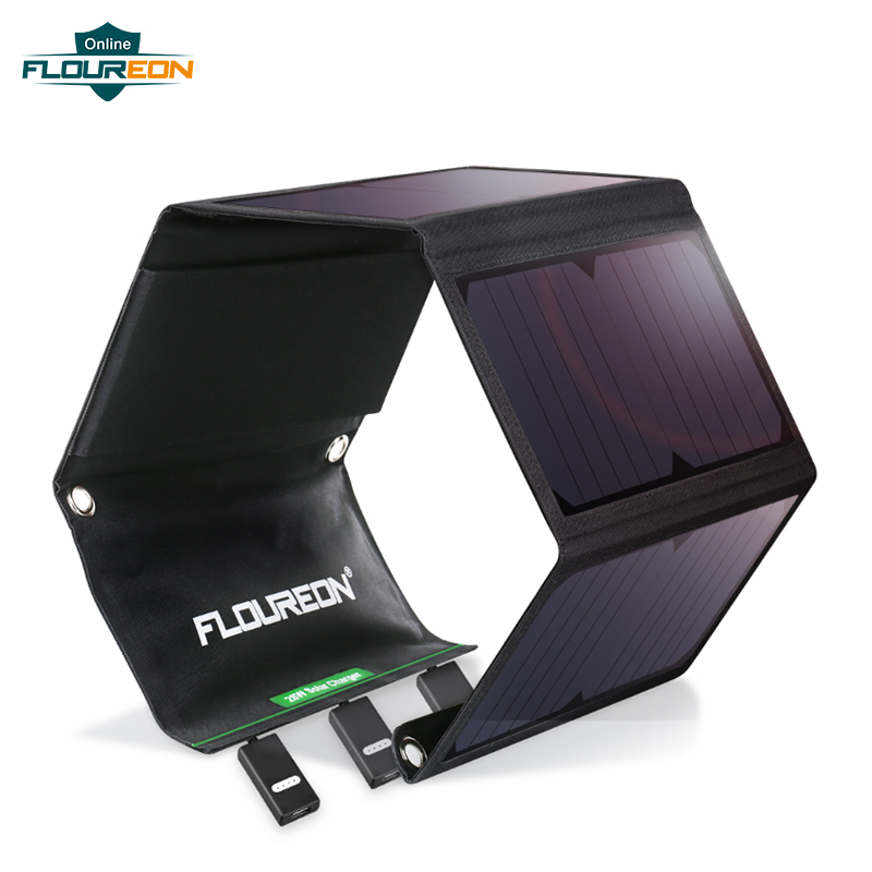 FLOUREON Waterproof Foldable 28W Solar USB Charger Solar Panel Sun Light Energy Phone Charging Triple 3 USB Ports For Outdoors