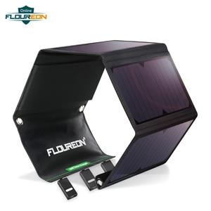 Image 1 - FLOUREON Waterproof Foldable 28W Solar USB Charger Solar Panel Sun Light Energy Phone Charging Triple 3 USB Ports for Outdoors