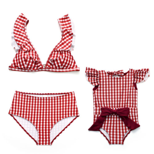 Family Matching Swimsuit Women Mom Kids Baby Girls Bikini Plaid Ruffles Bathing Suit Swimwear Swimsuit