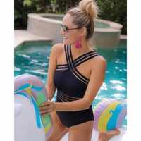 HXBY Black One Piece Swimsuit Women Plus Size Bathing Suits Women's Swimwear Monokini Sexy Mesh Backless Swimsuit Large Size 2XL