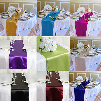 Faroot TOP QUALITY Silk-like Satin Table Runner Decoration For Wedding Party Banquet