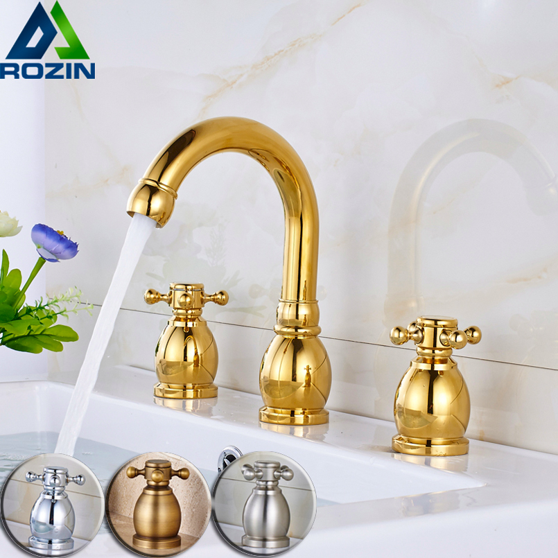 Double Handle Widespread 3 Holes Basin Faucet Deck Mounted Golden Black Bathroom Sink Mixers Crane Gooseneck SpoutDouble Handle Widespread 3 Holes Basin Faucet Deck Mounted Golden Black Bathroom Sink Mixers Crane Gooseneck Spout