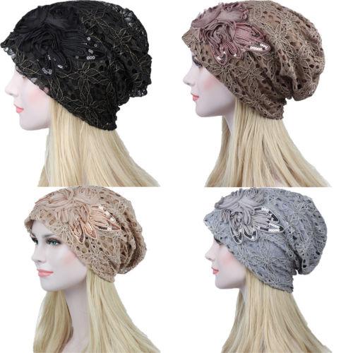 Fashion Women Cotton Lace Flower Slouchy Baggy Head Cap Beanie Cancer Hat Turban