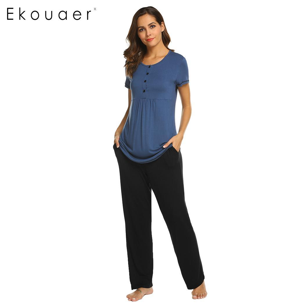 Ekouaer Home Clothes Women   Pajamas     Set   O-Neck Short Sleeve Long Pants Solid Maternity   Pajama     Sets   Comfortable Sleepwear Suit