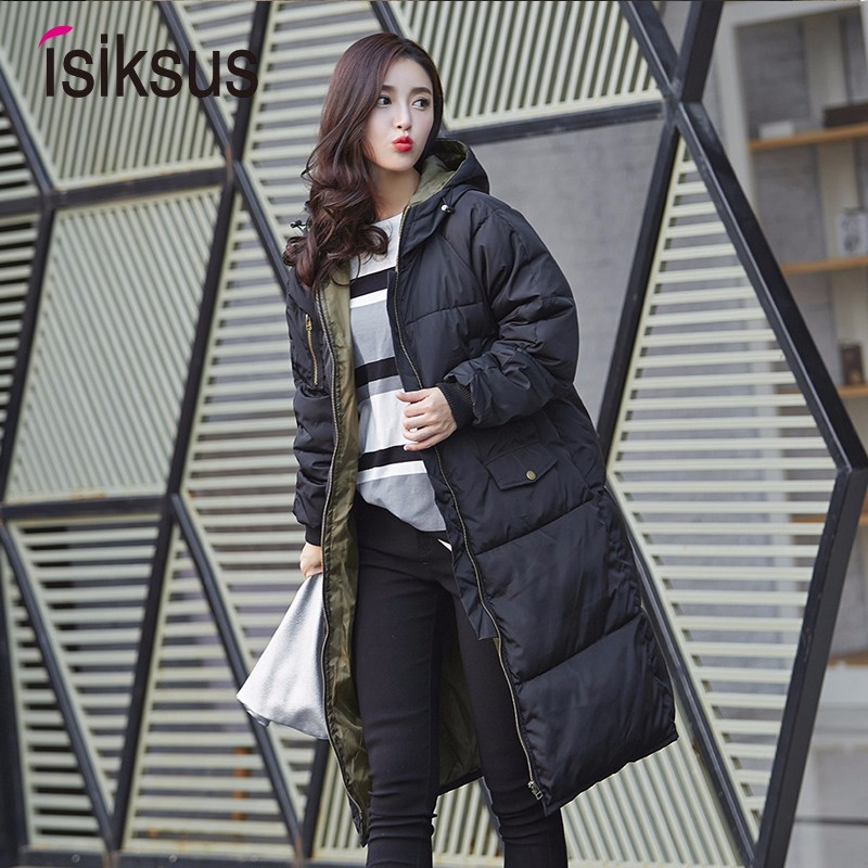 Isiksus Padded Warm Down Jackets Womens Winter Plus Size Long Padded Black Hooded Cotton Coat Jacket