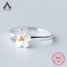 925 Sterling Silver For Women Rings Simple Fashion Chic Small Fresh Flower Opening Adjustable Ring Jewellery gifts For Women chic hollow out letter opening ring for women