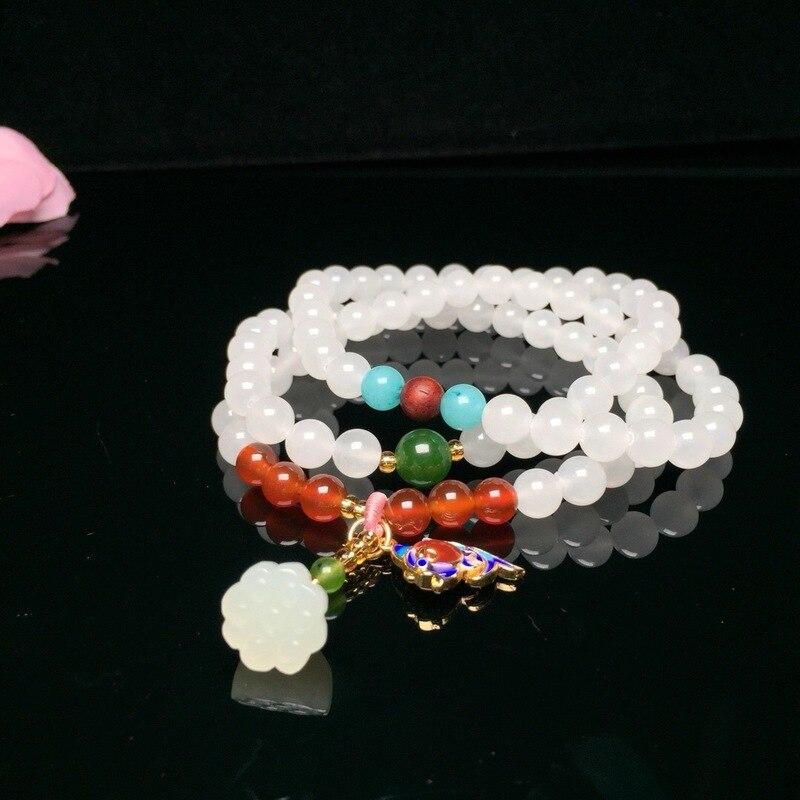 2018 vente nouveau femmes coton Kolye Collares Moana Yu Xuan, Hotan Long 7 Mm collier avec Lotus et trois cercle Bracelet St