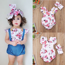 Baby Girl Romper Headband Jumpsuits Outfit 0-24M