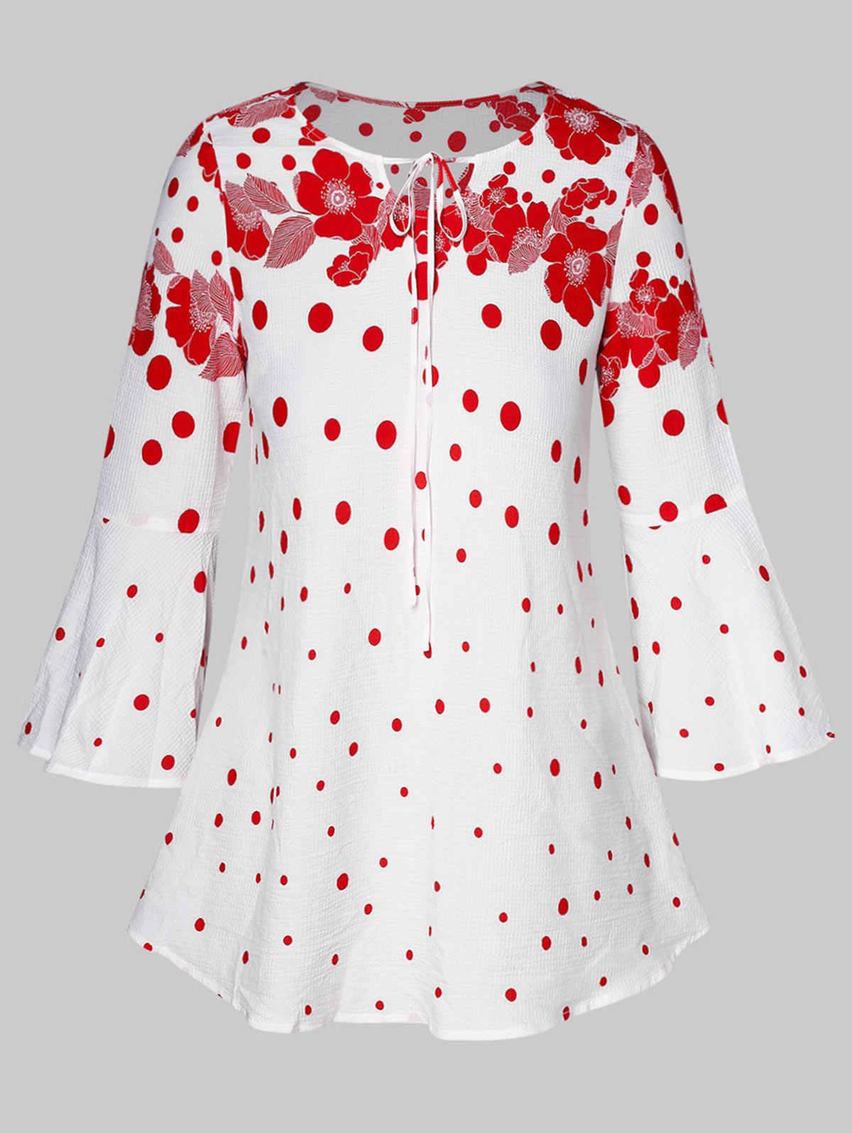 Wisalo женская блузка с цветочным принтом в горошек и расклешенными рукавами, большие размеры 5XL, Женская Повседневная блуза, рубашка 2019, весна-лето, женская блуза