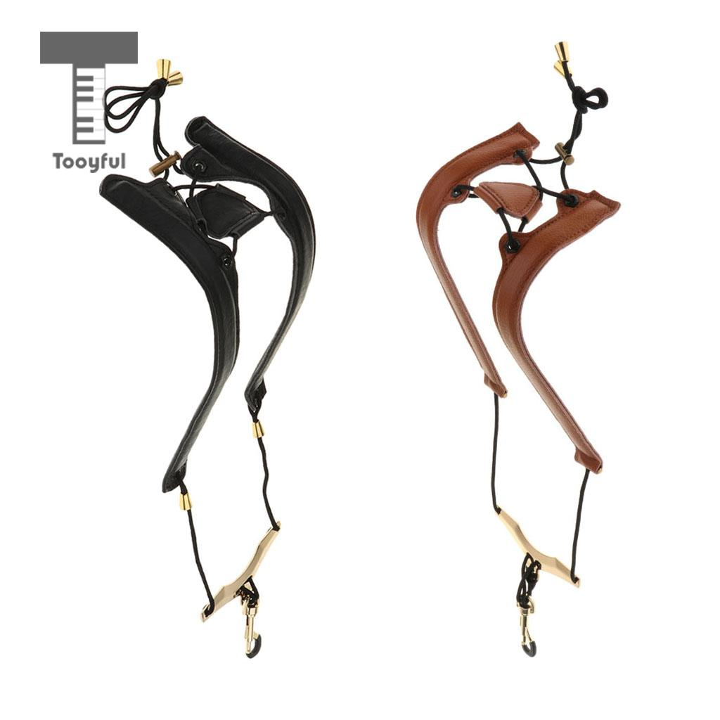 Tooyful Black/Brown Adjustable Leather Saxophone Shoulder Neck Strap With Buckle Width 24mm For Sax Plyers Music Lovers