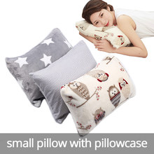 small pillow with pillowcase soft and full core for adult nap rest tiny little sleep send storage bag as gift