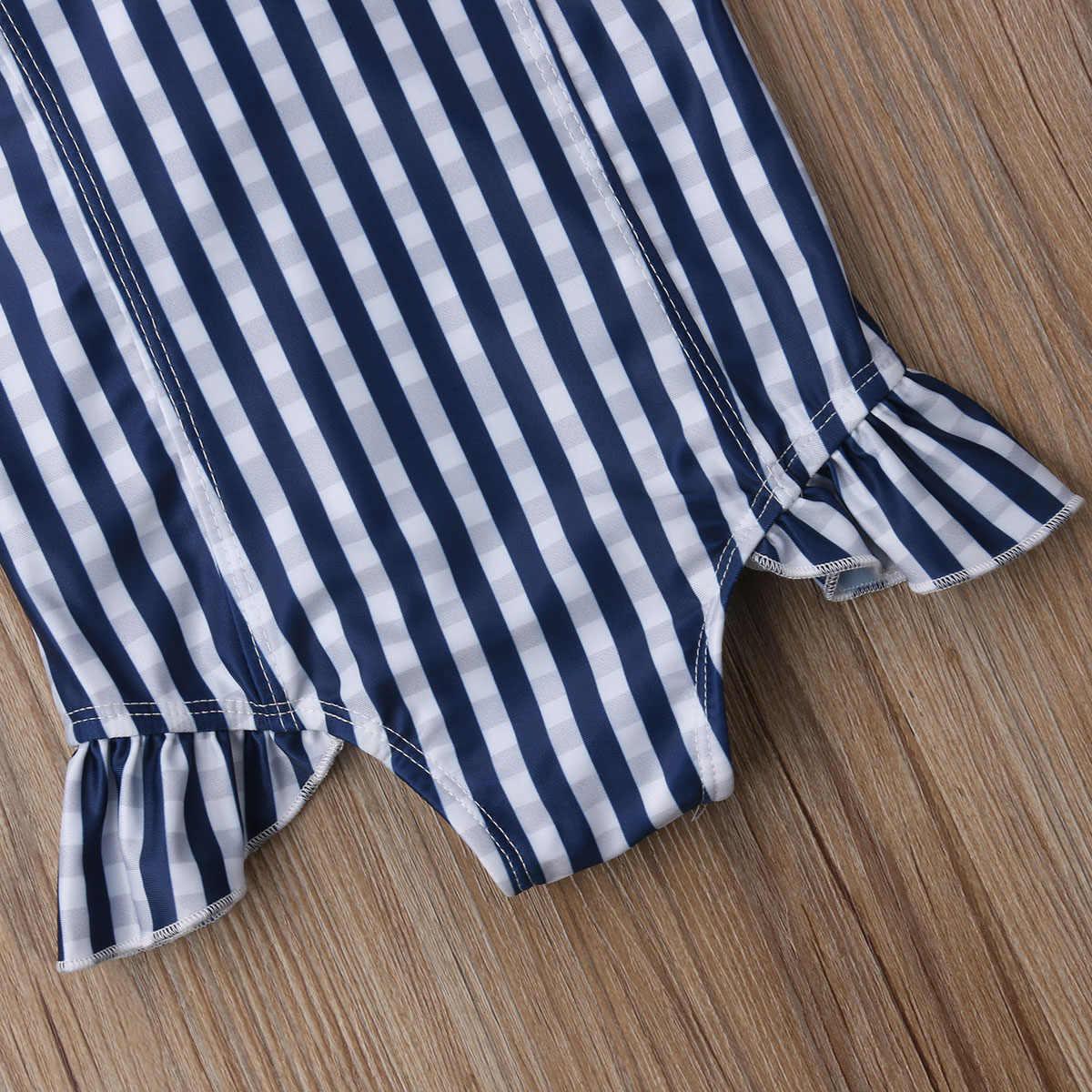 Ít Cô Gái Sọc Dọc Một mảnh Áo Tắm Bé Bé Cô Gái Tắt Shoulder Swimwear Đồ Tắm Tắm Beachwear 1-6 T