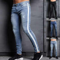 mens brand Skinny jeans Pant Casual Trousers 2018 denim black jeans homme stretch Side Striped pencil Pants fit streetwear 3XL