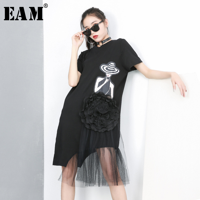 [EAM] 2020 New Spring Summer Round Neck Short Sleeve Black Pattern Printed Mesh Stitch Loose Dress Women Fashion Tide JQ621