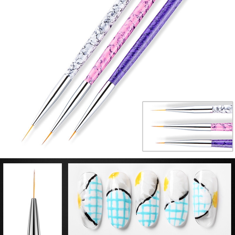 3pcs/Set Nylon Paint Brush Miniature Detail Fineliner Nail Art Drawing Brushes Acrylic Painting Brush Pen School Art Supplies