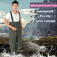 PVC Fishing Waders Waterproof One piece Pants Boots Rompers Pesca Hunting Farm Garden Wading Mud Wellies Half body Water Boots