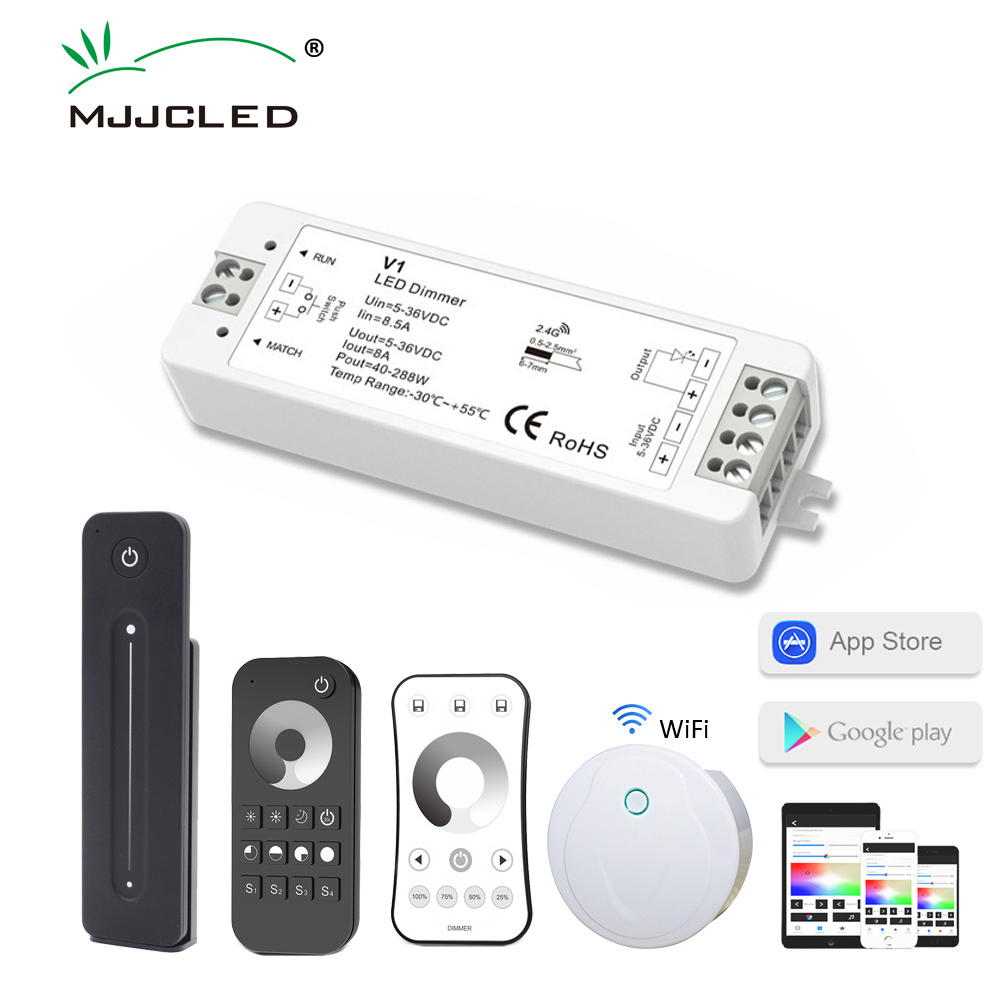 <font><b>12V</b></font> LED <font><b>Dimmer</b></font> 24V PWM Wireless RF <font><b>Dimmer</b></font> Switch 36V 5V LED Strip <font><b>Dimmer</b></font> 12 Volt 2.4G <font><b>Remote</b></font> Control for Single Color Lighting image
