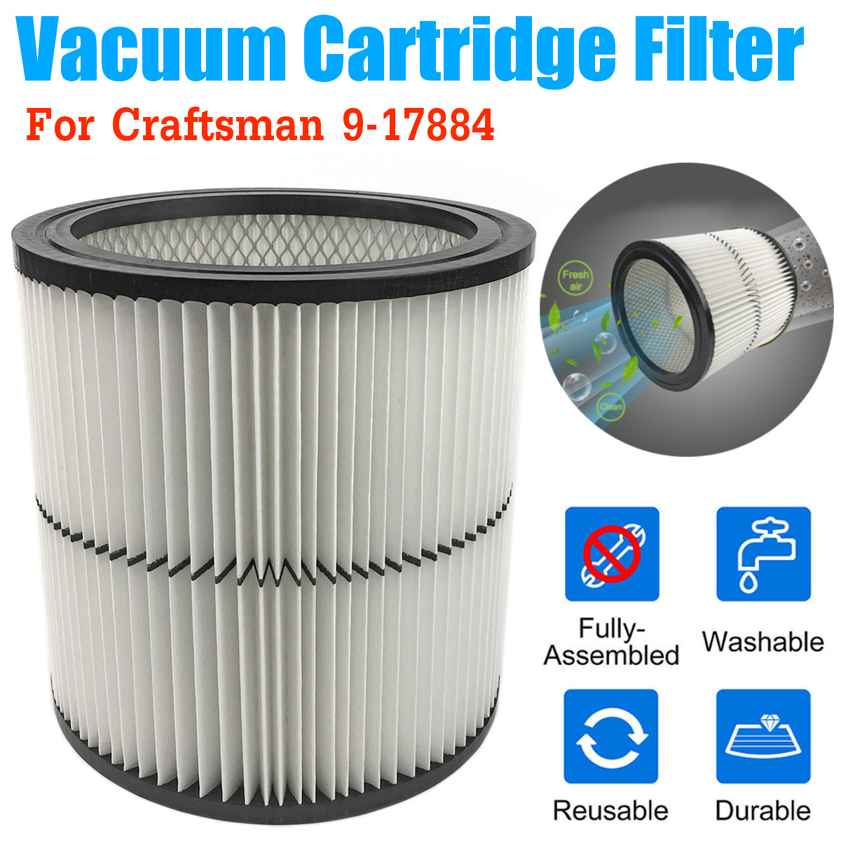 Replacement Vacuum Cleaner Filter For Craftsman Dry Debris Pickup 9-17884 Wet Dry Vac Air Filter Shop Vacuum Cleaner PartsReplacement Vacuum Cleaner Filter For Craftsman Dry Debris Pickup 9-17884 Wet Dry Vac Air Filter Shop Vacuum Cleaner Parts