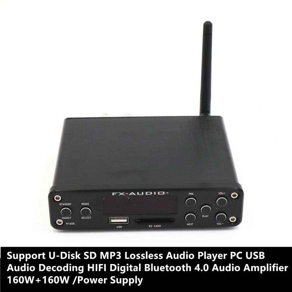Apoyo U disco SD MP3 sin pérdidas reproductor de Audio USB de la PC decodificación de Audio HIFI Digital Bluetooth 4,0 Audio amplificador 160 con + 160 W-in Reproductor de música digital de escritorio from Productos electrónicos    1