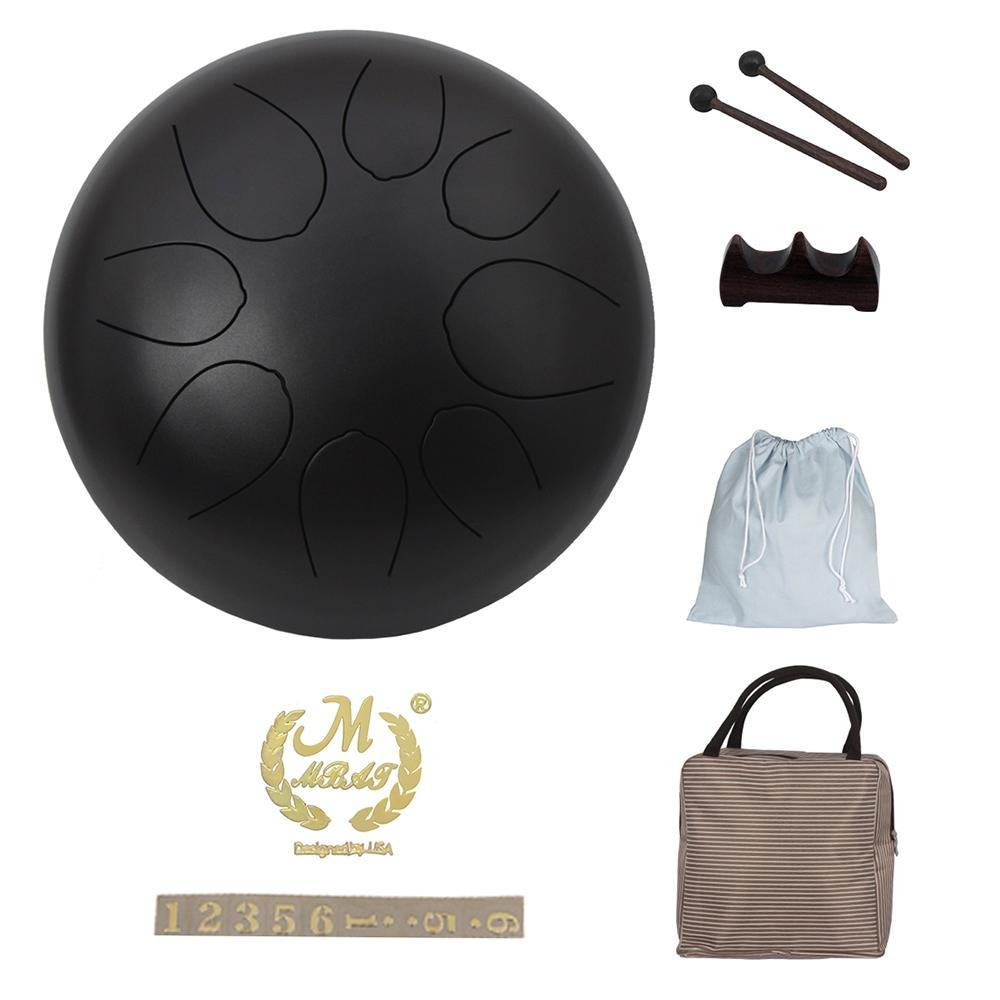 Tambour à Percussion 10 pouces tambour à langue en acier tambour à main avec maillets à tambour sacs de transport bâtons à Percussion Instrument à Percussion
