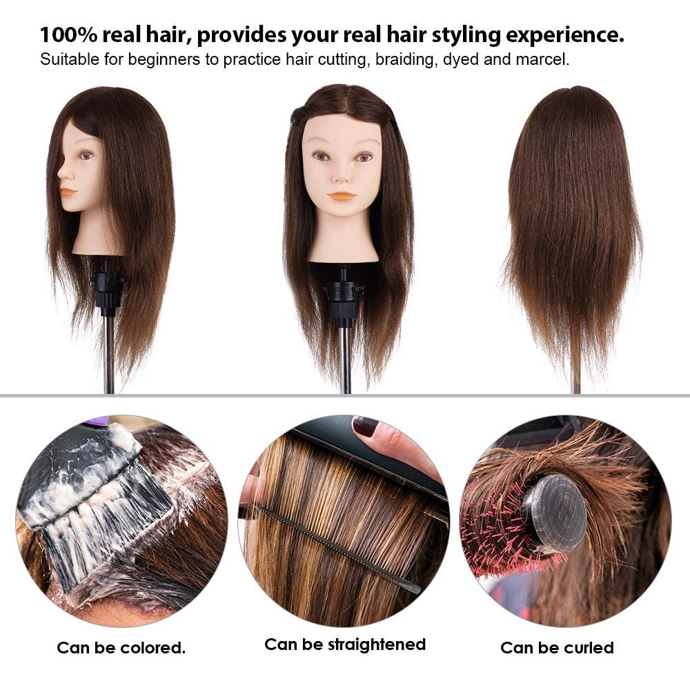 "20"" Mannequin Head Hairdressing Training Head Hair Braiding Practice Dummy Head High Temperature Fiber Head Model Hair Styling"