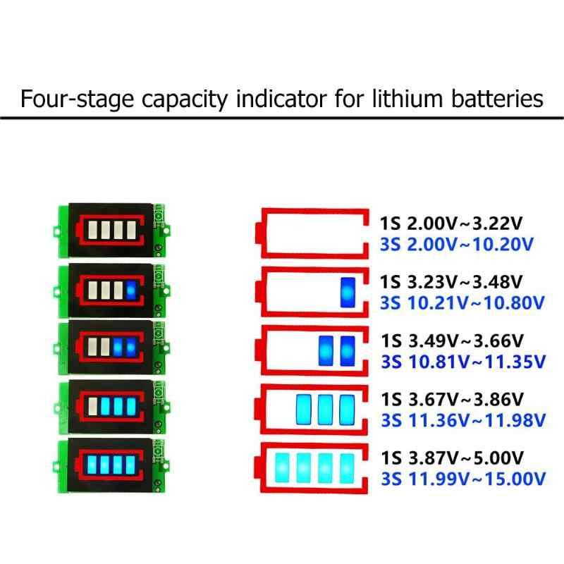 1 S 3 S Pin Lithium Công Suất Chỉ Số Mô-đun Meter Tester Hiển Thị 4.2 V 12.6 V Mức Công Suất