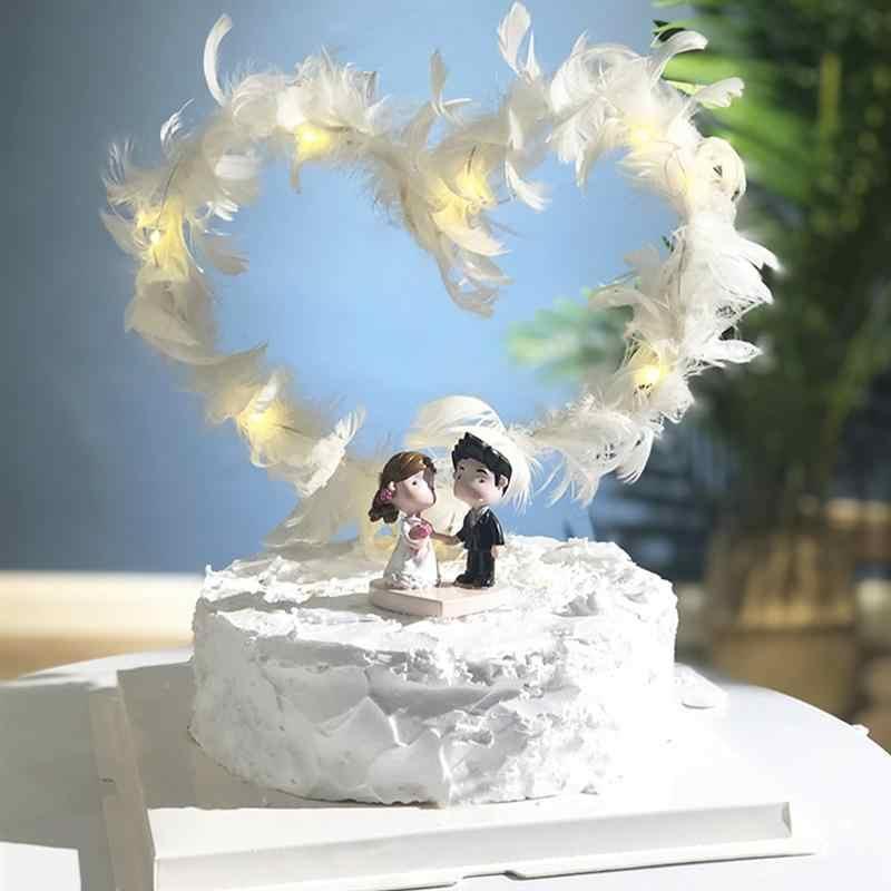 Venda quente LED Branco de Penas chapéus de Coco Do Bolo Para A Decoração Do Bolo de Aniversário de Casamento Decoração Do Partido Do Chuveiro Do Bebê Fornecedores A3
