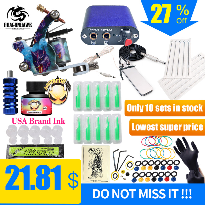 Gratis Ship Billiga Nybörjare Tattoo Kit med Hot Sales USA Brand Ink med 1 Tattoo Machine Komplett Tattoo Power Supply