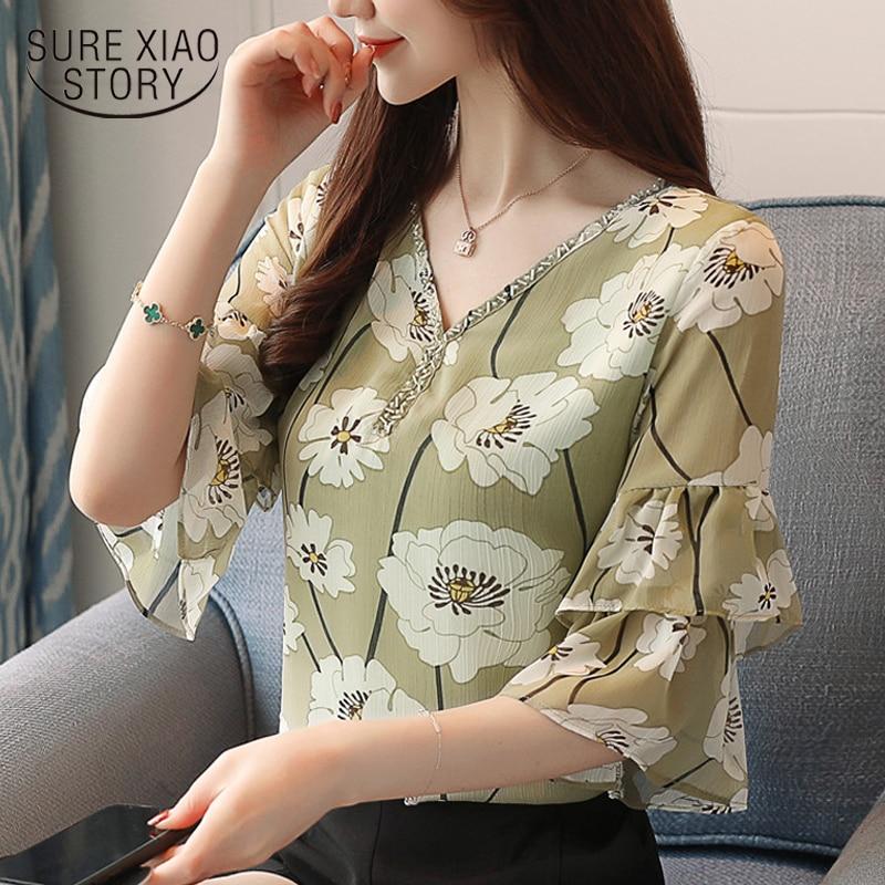 New 2018 Summer Sweet Floral Women Blouses Shirt Chiffon Shirt Short Sleeve Leaf Sleeve Loose Female V-Collar Shirt 0388 40