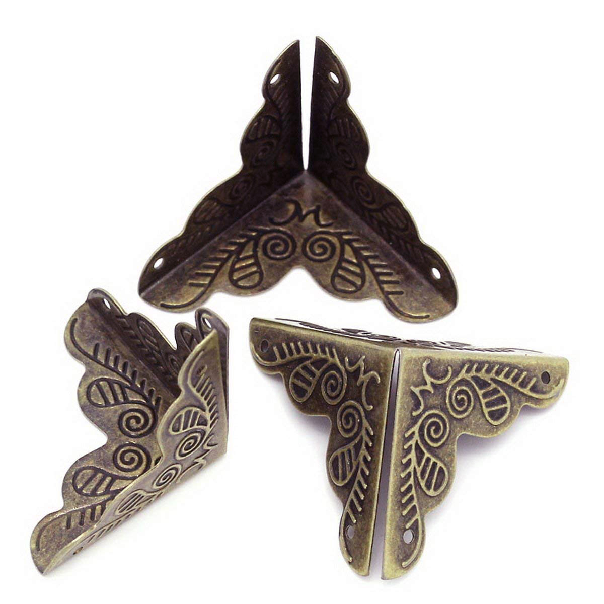 30pcs Vintage Luggage Case Box Corners For Furniture Decor Triangle Rattan Carved 3.6x1.9cm-bronze Tone Brackets Decorative