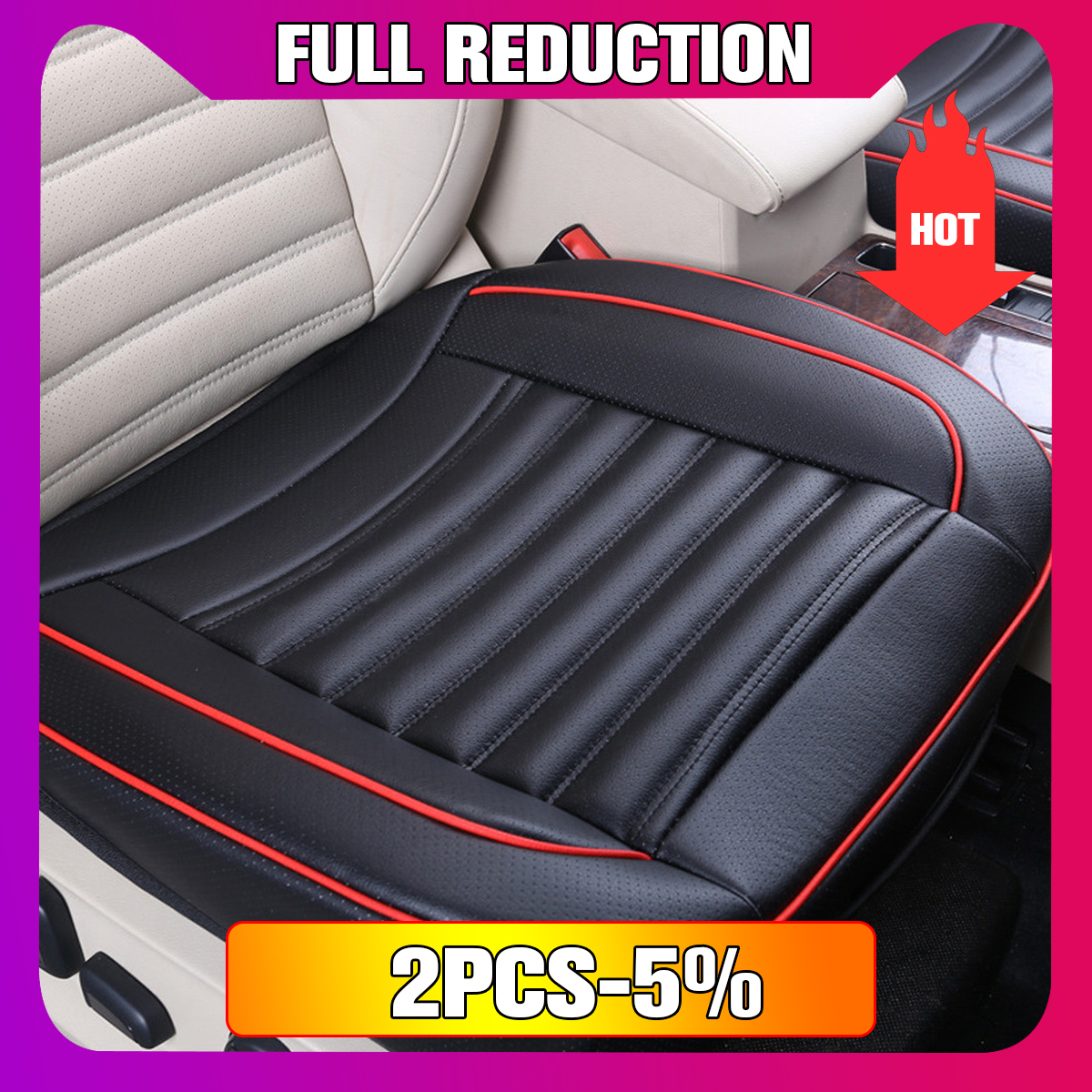 Car Single Seat without Backrest PU Leather Buckwhear Shell Filling Universal Car Cushion Mat Pads Non-slip Cover Seat
