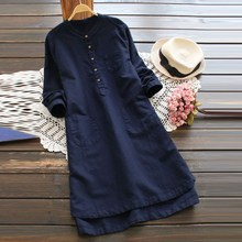 5Xl 4Xl 3Xl Plus Size Cotton Linen Loose Dress Women Retro Casual Shirt Large Big Oversize Boho Fall Sundress