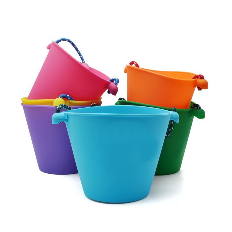 Enfants jouets de bain seau de plage silicone pliant seau à main enfants bébé plage sable jouer eau jouet couleur seau pour bébé