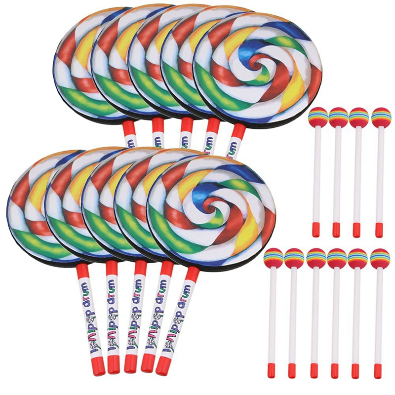 10Pcs 7 9 inch Lollipop Shape Drum With Rainbow Color Mallet Music Rhythm Instruments Kids Baby