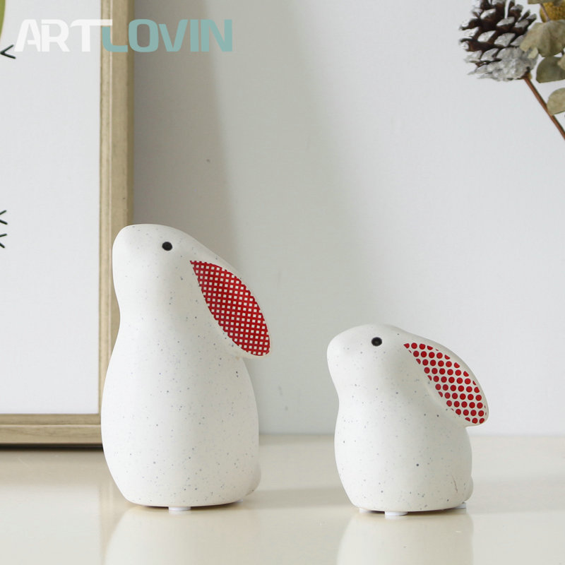 Fashion Decorative Ceramic Rabbit Figurines Home Decor Animal Miniature Statues White Cute Spotty Rabbit Fashion Ornaments