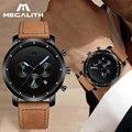 MEGALITH  мужские модные спортивные часы  мужские кварцевые аналоговые часы  мужские кожаные военные водонепроницаемые часы  Relogio Masculino