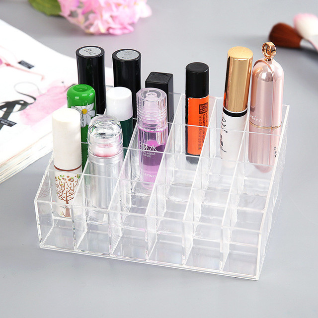 Hot 24 Grids Acrylic Makeup Organizer Cosmetic Box Storage Box Lipstick Jewelry Box Case Holder Display Stand Make Up Organizer 5