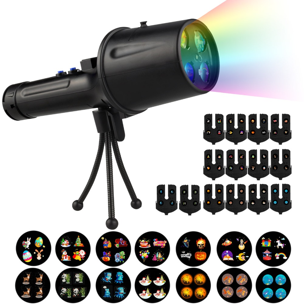 Outdoor LED Laser Projector For Christmas 14pcs Patterns Led Rechargeable Flashlight Stage Light Disco Projection Decor CF499