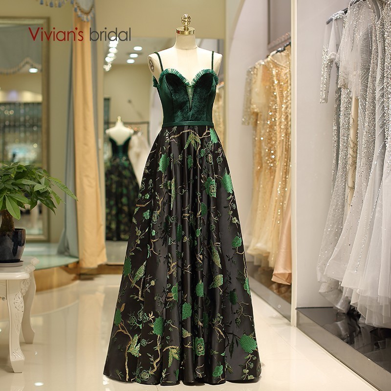 Vivian's Bridal Vintage Sweetheart Spaghetti Strap Velvet   Evening     Dress   Embroidery Satin Floral Print Lace-up Long Formal Gown