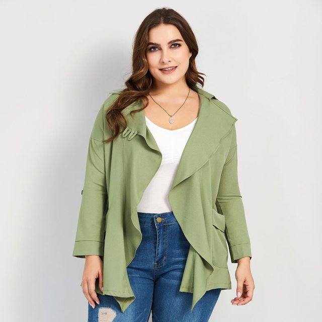 Women Trench Coats Casual Army Green Fall Elegant Plus Size Loose Thin Notched Lapel Plain Female Fashion Office Lady Overcoats