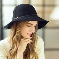 100% Wool Church Hats for Black Women Elegant Autumn Winter Large Wide Brim Fedora Ladies Foldable Cloche Hat Vintage Women Caps