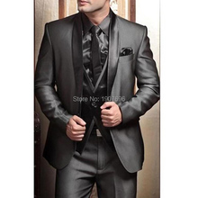 Wedding Tuxedos Suits for Men Modern Best man Suit Grey formal Groom Tuxedo Mens Jacket+Pants+Tie+Vest