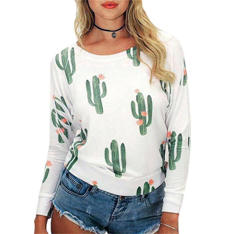 2019 New Fashion T Shirt Cactus Print Long Sleeve O-Neck Casual Loose Cotton Comfortable Women T-Shirt Autumn Top
