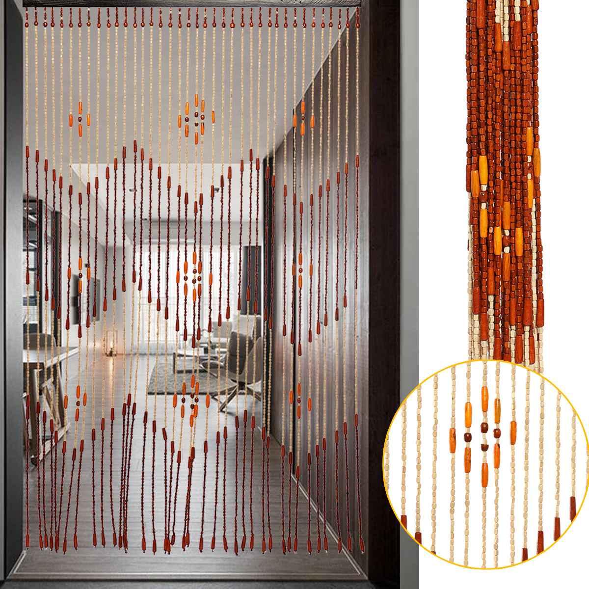 Mode en bois porte rideau stores à la main mouche écran en bois perles salle diviseur 90x175cm-38 vague/90x195cm-36 ligne