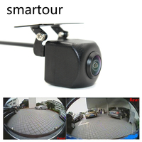 Smartour car reversing backup camera 1000L CCD HD 180 degree Fisheye Lens Rear Front view wide angle night vision parking assist