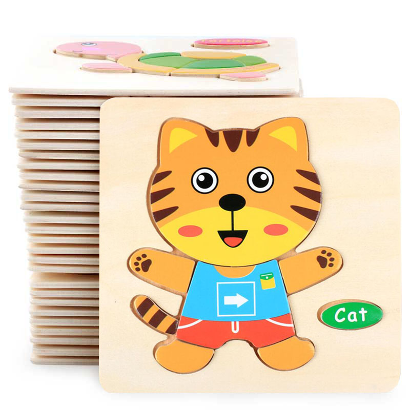 Hot Sell 3D Puzzle Wooden Toys For Children Cartoon Animal Vehicle Wood Jigsaw Kids Baby Early Educational Learning Toy #L505