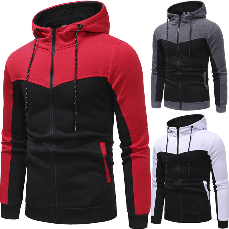 Autumn Winter Fashion Mens Slim Cool Fashion Pure Color Contrast Splice Hoodies Jacket Hoodie Men Casual Hooded Zipper 3 Colors