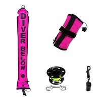 4ft/120cm Scuba Diving Surface Marker Buoy (SMB) Safety Signal Tube + Finger Spool Reel Line + Emergency Whistle